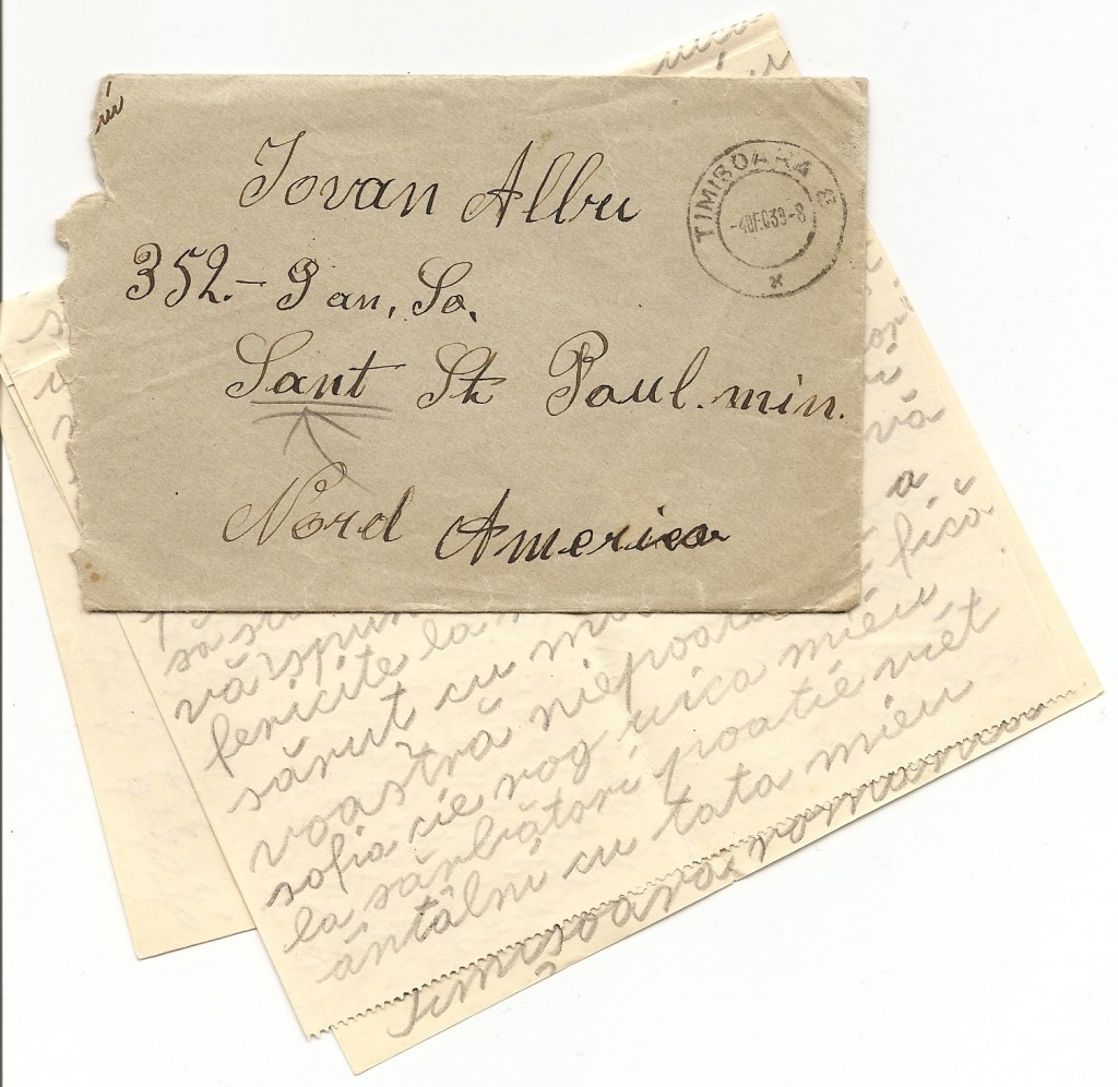 Old letter to Albu family in South St. Paul, MN